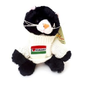 Fekete plüss cica Hungary pulcsiban