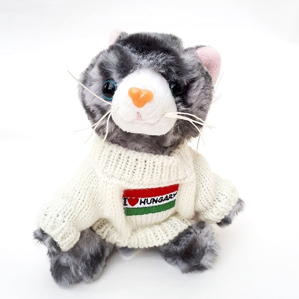 Cirmos plüss cica Hungary pulcsiban