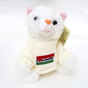 Fehér plüss cica Hungary pulcsiban
