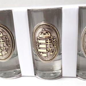 Ón-cimkés címeres pálinkás pohár készlet