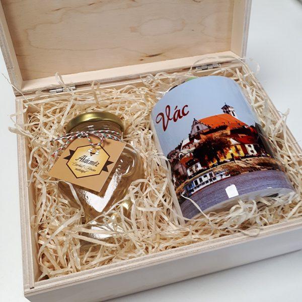 Váci mézes bögrés ajándékcsomag Váci díszdobozban