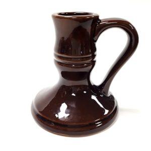 Kézműves füles gyertyatartó - csokoládébarna