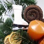 Kézműves kerámia korcsolya - felakasztható dísz