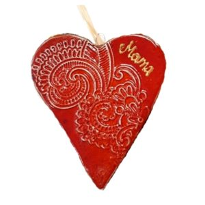 Kézműves kerámia szív felirattal