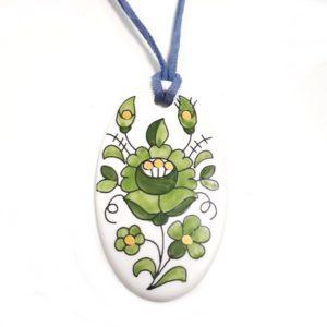 Kalocsai ovális medál - zöld virágos